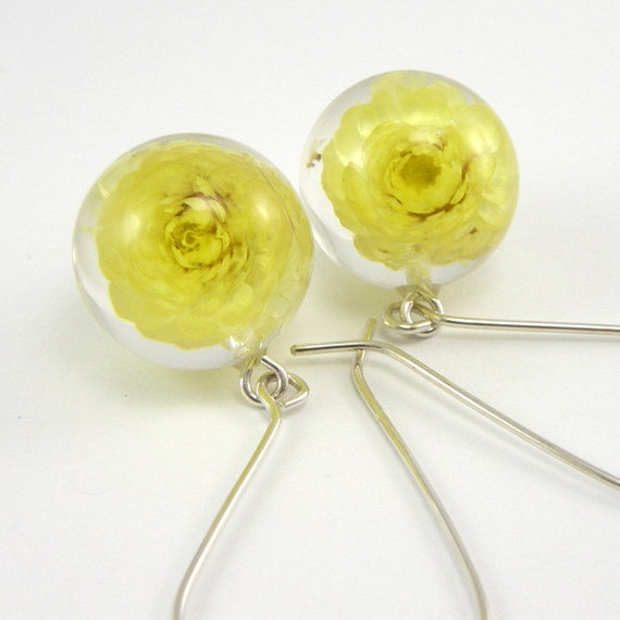 Resin Earrings with Yellow Flowers