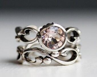 Pink morganite engagement ring set, morganite wedding set, bezel set engagement ring, unique engagement ring, infinity ring, Wrought