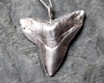 Bull shark tooth necklace, recycled sterling silver shark tooth necklace, mens gift for him, oxidized silver jewelry, custom made
