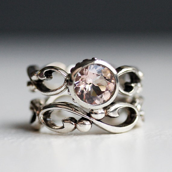 Pink morganite engagement ring set, morganite wedding set, bezel set engagement ring, unique engagement ring, infinity ring, Wrought
