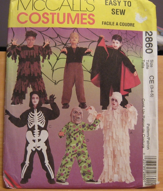 Children's sewing pattern, mummy, skeleton, dracula, zombie,& more sz 3-5 uncut