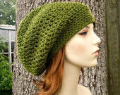 Womens Hat Slouchy Beanie - Weekender Slouchy Hat in Olive Green Crochet Hat - Green Hat Green Beanie Womens Accessories - READY TO SHIP