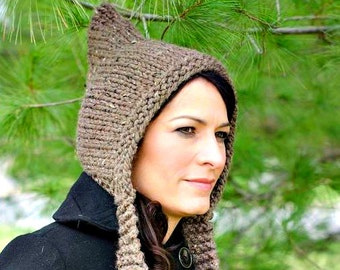 Knit Hat Womens Hat - Brown Pixie Hat in Barley Brown Knit Hat - Brown Hat Womens Accessories Winter Hat