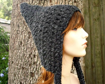 Crochet Hat Womens Hat - Pixie Hat in Charcoal Grey Crochet Hat - Grey Hat Grey Pixie Hat Womens Accessories Winter Hat