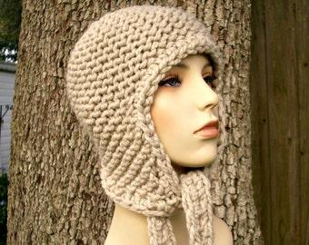 Knit Hat Womens Hat - Garter Ear Flap Hat in Cream Linen Knit Hat Cream Hat Womens Accessories