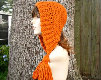 Crochet Hat Womens Hat Orange Hood Orange Ear Flap Hat - Tassel Hat in Pumpkin Orange Crochet Hat - Orange Hat Womens Accessories Winter Hat