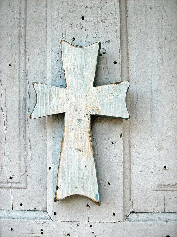 Pale Aqua Blue Cross Made From Reclaimed Woos