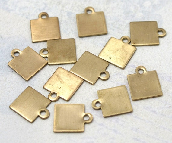 Small Brass Engravable Square Charms (16X) (M684)