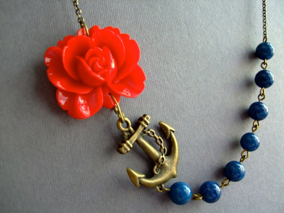Statement Necklace,Flower Necklace,Red Flower Necklace,Red Floral Necklace,Teal Necklace,Anchor Necklace,Nautical Necklace,Bridesmaid Gift