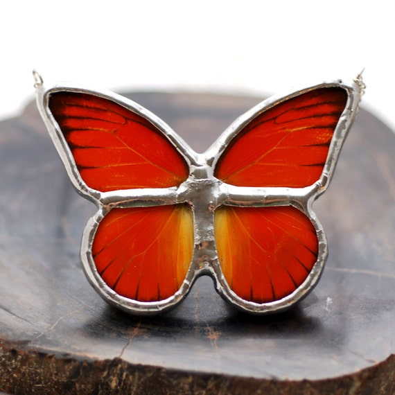 READY TO SHIP Real Butterfly Wing Jewelry Appias nero Necklace