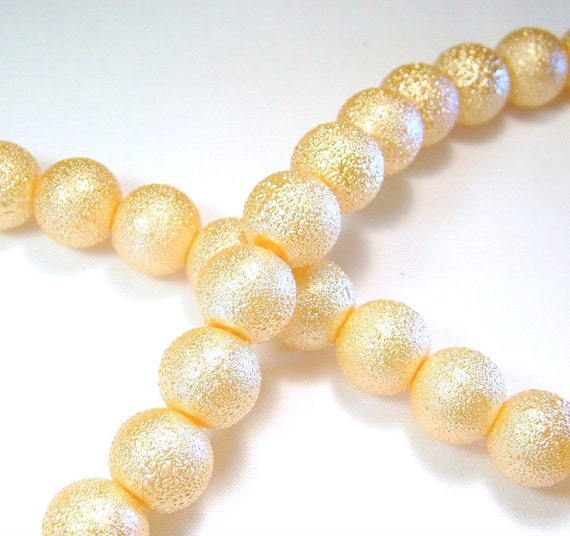 Peach Textured Glass Pearl Beads 10mm 43ct