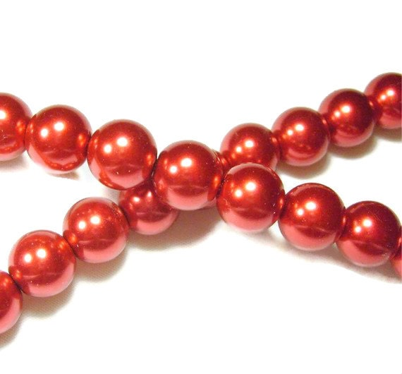 Red Metallic Faux Pearl Glass Beads 8mm 100ct