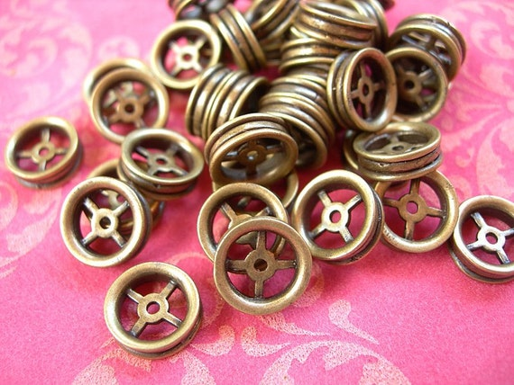 Large Brass Rondelles Spacer Beads or Gears lot of 8 Designer Quality Pewter 10mm