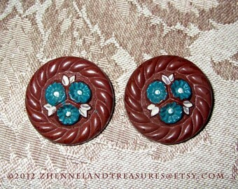 TWO VINTAGE BUTTONS/ Chocolate Brown with Blue Flowers/ For Embellishing Fashion, Accessories , & Other Creative Projects/ Round buttons