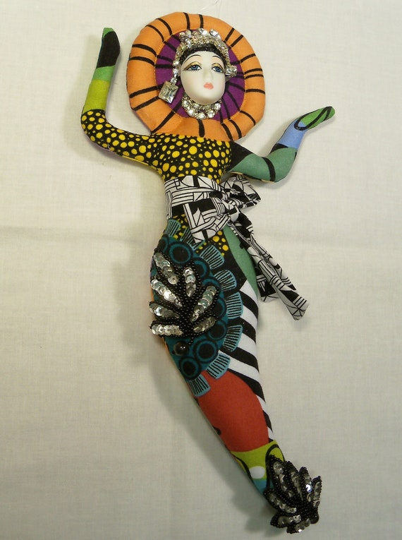 Fancy Miss Francie Goddess cloth art doll Ooak one-of-a-kind  12in tall
