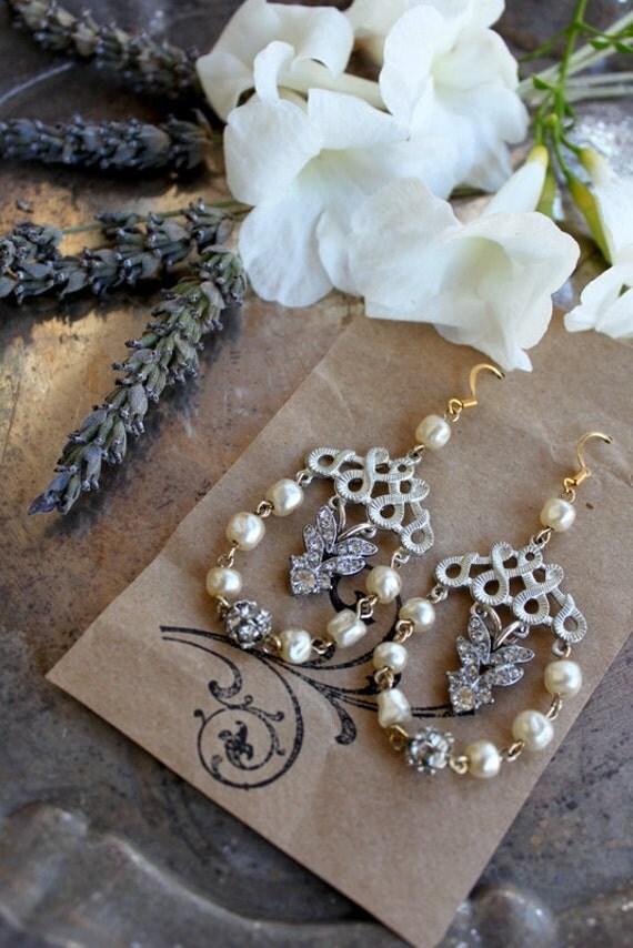 Vintage Pearl and Art Deco Rhinestone Dangling Earrings....Sophie
