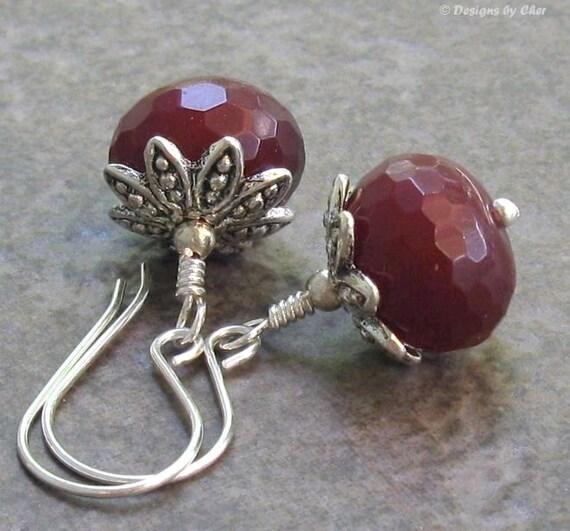 Ruby Quartz Sterling Silver Earrings, Handmade Earwires, Floral Beadcaps