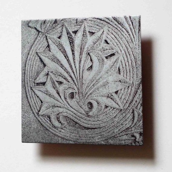 Metal art carved stone photo, architectural detail, zinc metal wall art deco, black and white photograph original art by Copper Leaf Studios