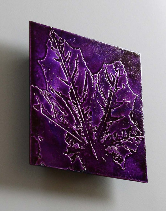 Plum Maple Leaf Metal Artwork 5in