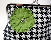 NEW SIZE - Funky Black and White Houndstooth Oversized Clutch/Purse with Lime Green Fabric Flower