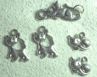 Lead Free Pewter Cat Clasp and Cat Charm Set