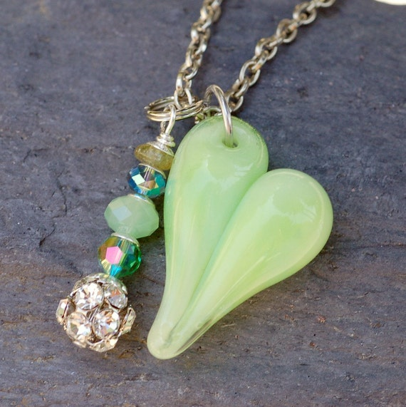 Glass Heart Pendant Necklace Lampwork Boro Borosilicate Jewelry Spring Green