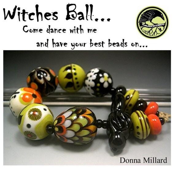 HANDMADE LAMPWORK Glass Beads SET Donna Millard sra lamp work orange green black halloween raven witch hippie boho gypsy