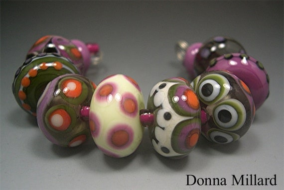 Handmade LAMPWORK Glass Beads Set 10 Donna Millard sra lamp work beads orange green pink black dots