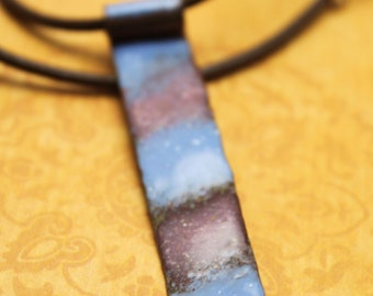 SALE 50% OFF- Blue and Dusty Pink Enamel Stick Necklace