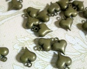 50 brass plated puffy heart charm pendants, 9x11mm, double sided, lead and nickel free