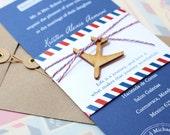 Modern Air Mail White Ink Wedding Invitation (Mexico) - Design Fee