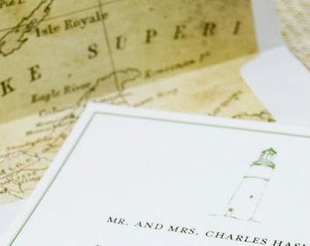 Lighthouse and Vintage Map Wedding Invitation (Lake Superior) - Design Fee