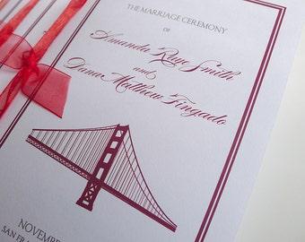100 Golden Gate Bridge Wedding Ceremony Programs with Ribbon Ties