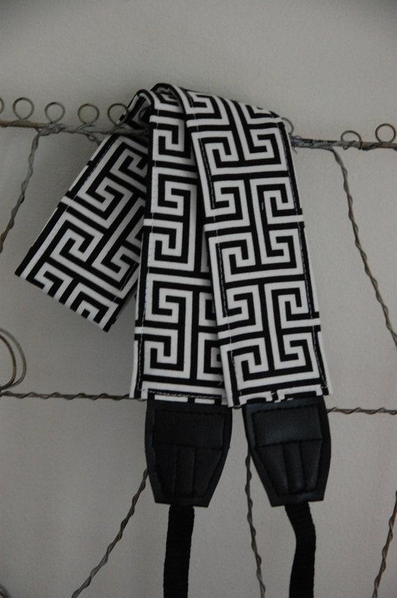 Camera Strap- Maze Modern Black and White