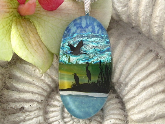 Heron Crane Necklace - Dichroic Fused Glass Jewelry -  Dichroic Glass Pendant -  Necklace - Bird 070912p105