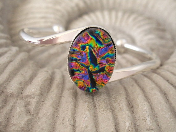 Dichroic Fused Glass Jewelry - Rainbow  -  Fused Glass Bracelet  - Silver Plated Bangle Bracelet - Fused Glass Jewelry 071212b101