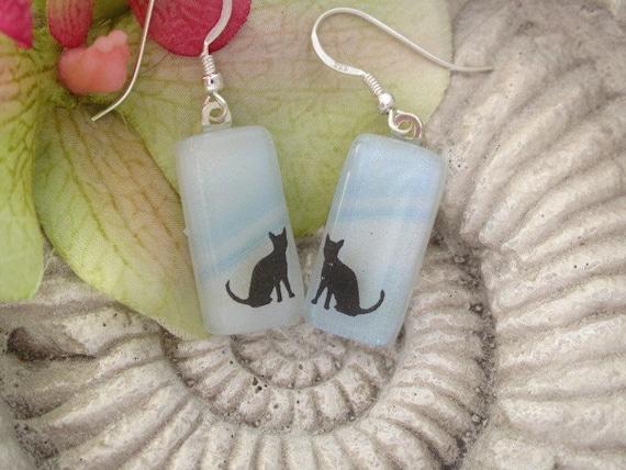 Cat Earrings - Dichroic Glass Earrings - Dichroic Fused Glass Jewelry - Sterling Silver Earrings 071712e100