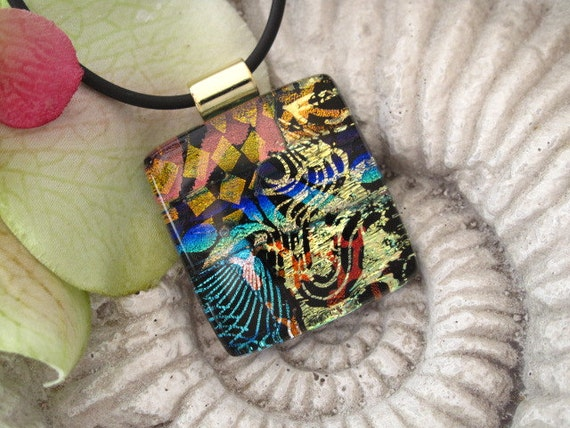 Dichroic Fused Glass Jewelry - Fused Dichroic Glass Pendant  - Dichroic Pendant Dichroic Necklace 072012p101