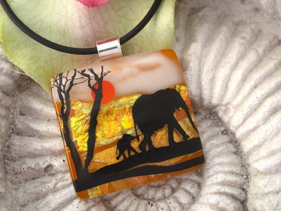 Safari Necklace -  Elephant Necklace - Elephant Jewelry - Dichroic Glass Pendant - Dichroic Fused Glass Jewelry 072112p105