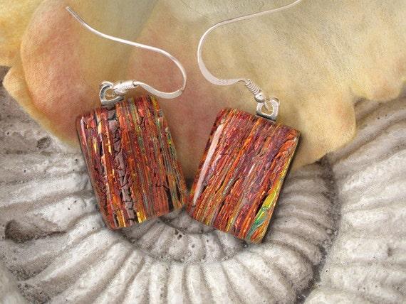 Red Earrings - Red Dichroic Glass Earrings - Dichroic Jewelry - Dangle Earrings - Fused Glass Jewelry 80812e104