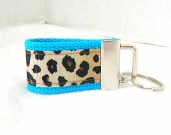 Mini Key Fob - Leopard TURQUOISE - Animal Print Key Chain -Cheetah Key Ring - Cheetah Zipper Pull