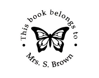 butterfly this book belongs to custom Rubber Stamp ex libris bookplate