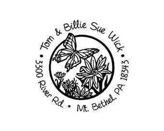 butterfly return address custom rubber stamp