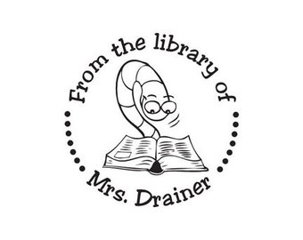 Bookworm custom Teacher Gift From the Library of Rubber stamp