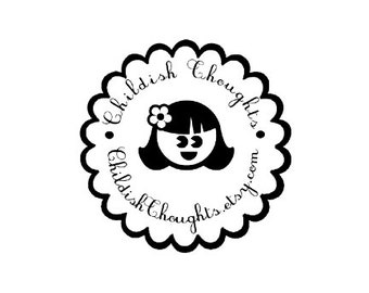 cute girl custom rubber stamp