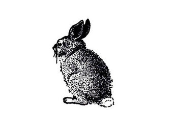 Vintage bunny rabbit Rubber Stamp