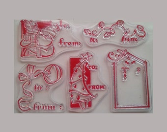 CLEARANCE Christmas unmounted gift tag rubber stamps