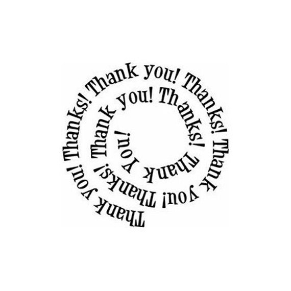 Thank You Thanks spiral  Rubber Stamp