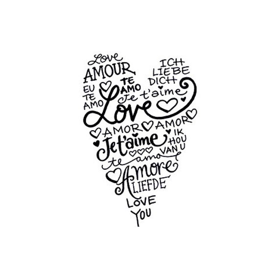 Language of Love Heart Rubber Stamp