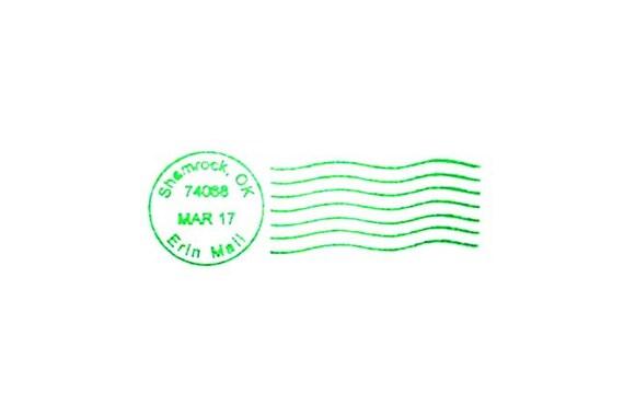 Cancellation marks St Particks Day Shamrock Postmark Rubber Stamp